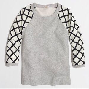 JCrew contrast-sleeve sweatshirt grey
